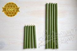 Свечи зеленые восковые упаковка 50 шт.