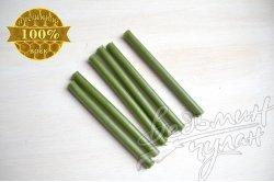 Свечи восковые зеленые 10 см